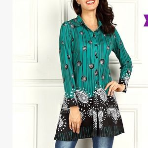 Tops - Paisley and Green Button-Down Tunic